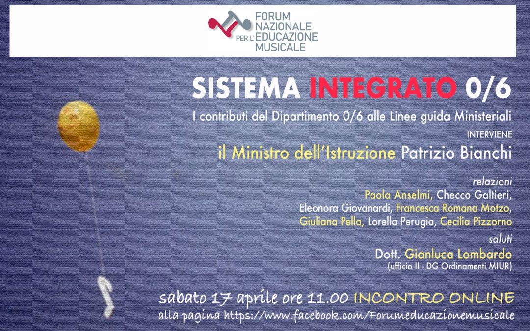 Sistema Integrato 0/6: webinar sui contributi del Forum alle linee guida ministeriali